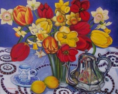 Artist: Perry Snodgrass, Tulips and Daffodils,